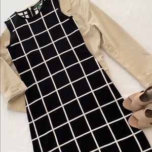 Lauren Ralph Lauren Grid Print Knit Sheath Dress